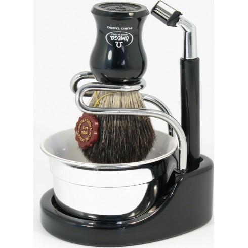 photo de Ensemble de rasage noir : rasoir G2, blaireau pur poil, bol OMEGA