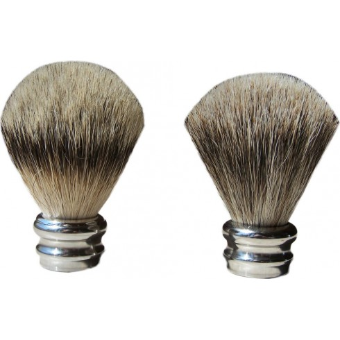 """photo de Touffe de rechange \\""""Silvertip\\"""" 23cm en pur poil argenté pour Blaireau LORDSON"""