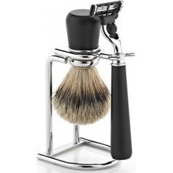 photo de Ensemble (set) de rasage 3Pcs Noir rasoir Mach3, blaireau pur poil gris + présentoir