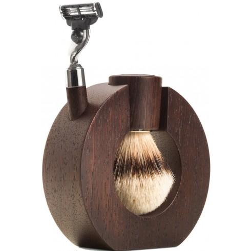 photo de Set de rasage SPHAERA en bois de Wengé, Blaireau pur poil blanc, rasoir Mach3 MONDIAL1908