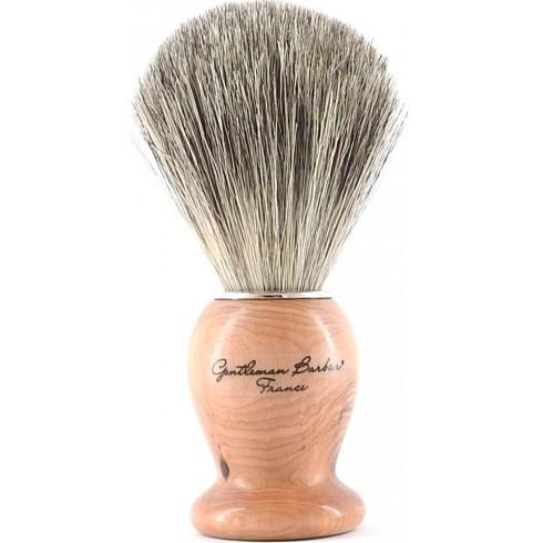 photo de Blaireau Best Badger pur poil gris, Taille 12 manche Bois de Cade (BBCG12) Gentleman Barbier