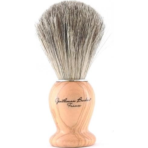 photo de Blaireau Best Badger pur poil gris, Taille 12 manche Olivier (BOLG12) Gentleman Barbier