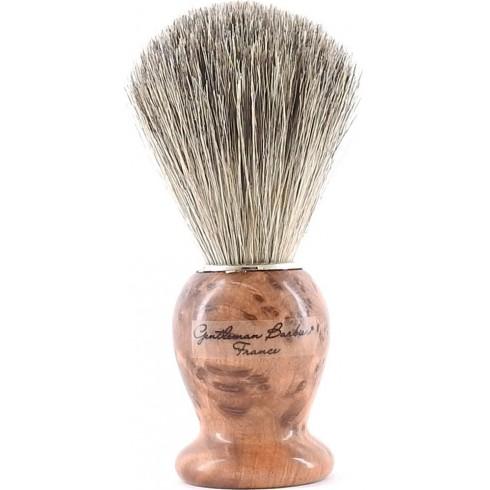 photo de Blaireau Best Badger pur poil gris, Taille 12 manche Thuya (BTHG12) Gentleman Barbier