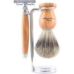 photo de Set de rasage 3 pièces Bois d'Olivier - Blaireau poil blanc - rasoir sécurité (S3PSOLPB12) Gentleman Barbier