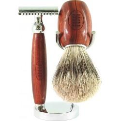 photo de Set de rasage 3 pièces Gentleman Rugby, Bois de Padouk - Blaireau poil blanc - rasoir sécurité (SGR3PSE) Gentleman B...