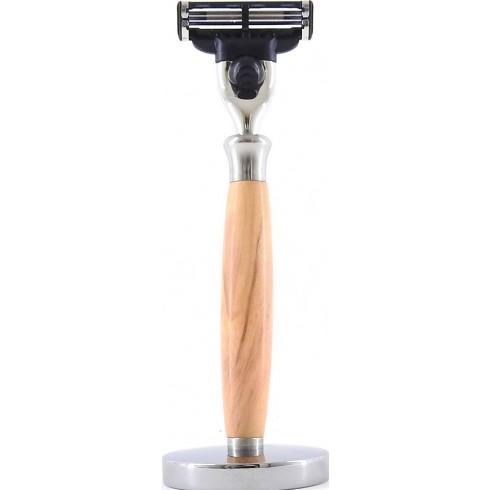 photo de Rasoir Mach3 manche en bois d'Olivier (ROLM3) Gentleman Barbier