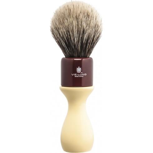 """photo de Blaireau \\""""American Style\\"""" pur poil blanc blaireau, M, manche Bois Peint (04516) VIE-LONG"""