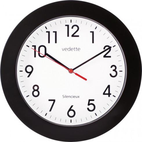 pendule-murale-cerclee-noire-diam-25cm-trotteuse-silencieuse-vedette