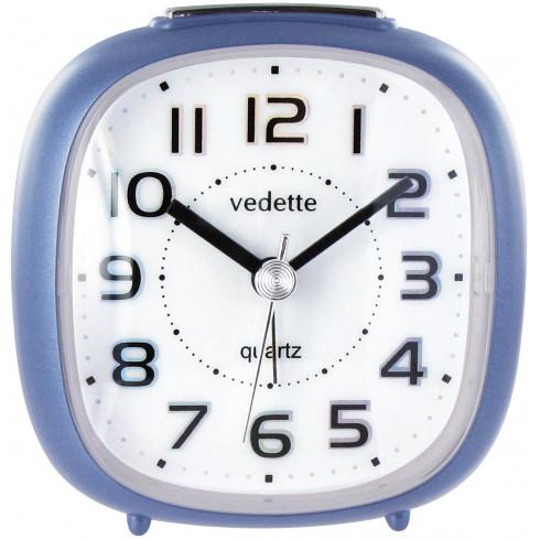 Réveil quartz bleu métal trotteuse silencieuse VEDETTE