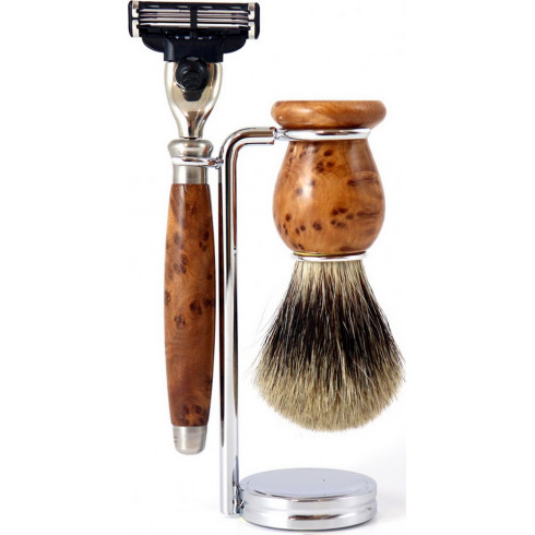 Set rasage Bois de Thuya Gentleman Barbier, Blaireau poil Pure Badger gris, rasoir Mach3
