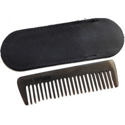 -Peigne à Barbe & Moustache râteau corne véritable 9 cm dans son étui LORDSON