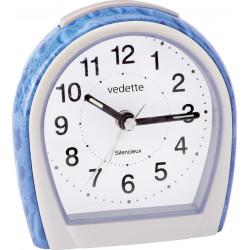 Réveil quartz bleu nacré/blanc trotteuse silencieuse VEDETTE