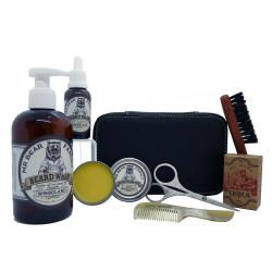 Trousse cuir grd modèle barbier 7 produits, shampoing&huile&cire&ciseaux LORDSON