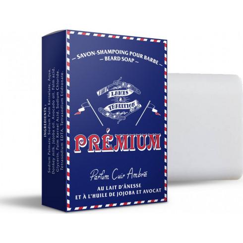 Savon-shampoing à Barbe surgras au lait d'ânesse 100g, Parfum Cuir ambré LAMES&T
