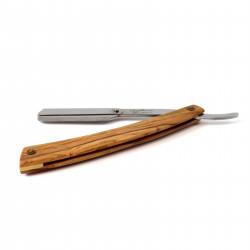 Shavette, rasoir droit à manche en bois d'Olivier, lame interchangeable Gentleman Barbier