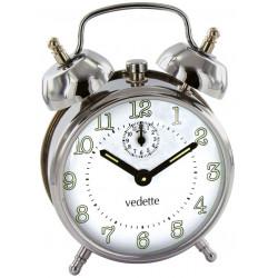 -Réveil mécanique métal chromé à sonnerie sur cloche VEDETTE