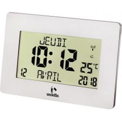 Pendule Fonctionnelle cadre rectangulaire argenté radio-piloté jour&date VEDETTE