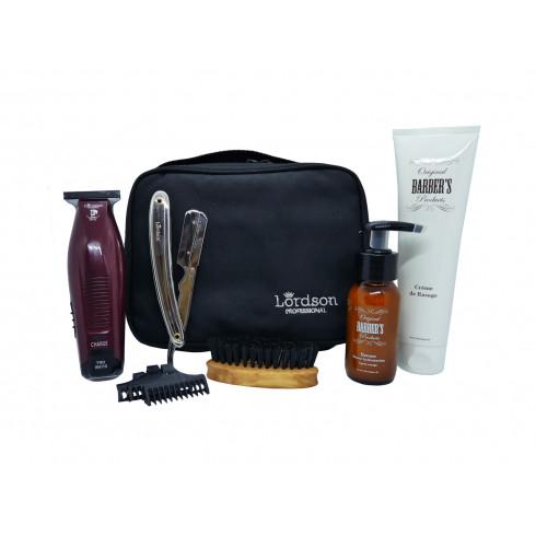Trousse barbier&coiffeur, tondeuse LC911PR,Shavette, brosse, Crème,baume LORDSON