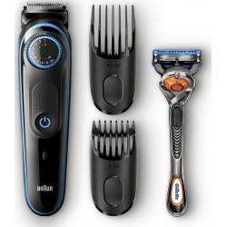 Tondeuse barbe BT5040 BRAUN Noire 2 en 1, 2 sabots de 0.5 à 20mm, rasoir fusion
