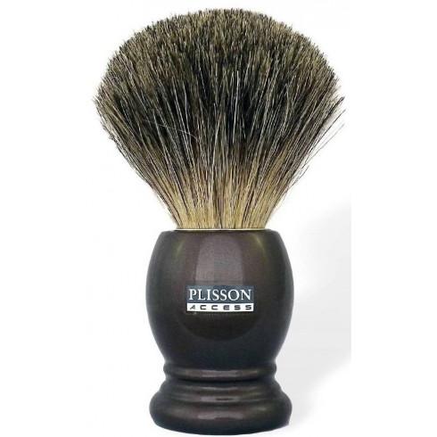 *- Blaireau pur poil gris de Russie T12, Access manche marron nacré PLISSON