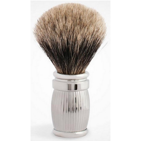 Blaireau pur poil gris T12, manche fût Gordon laiton massif&Palladium