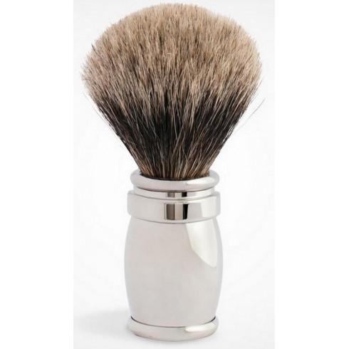 """Blaireau PLISSON pur poil gris Européen T12, manche laiton & Palladium """"miroir"""""""