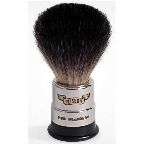 Blaireau PLISSON pur poil noir, T12, en cuivre nickelé & acétate noir