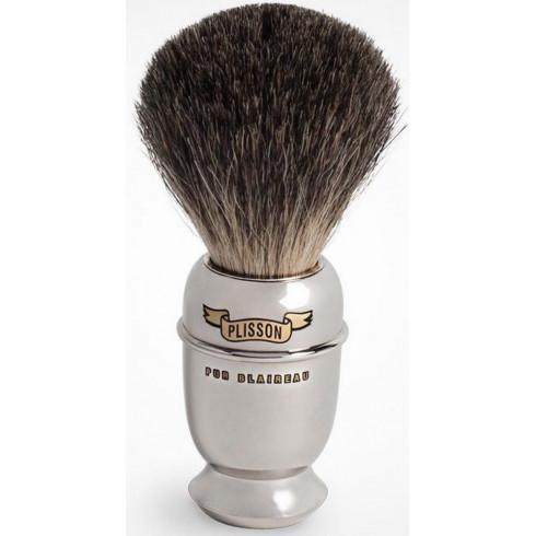 Blaireau PLISSON pur poil gris de chine T10, manche Antique en cuivre nickelé
