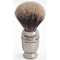 Blaireau PLISSON pur poil blanc Européen T12, manche Antique en cuivre nickelé