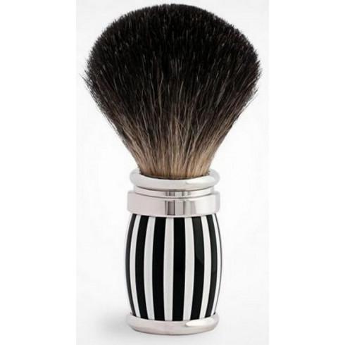 Blaireau PLISSON pur poil gris de Russie T12, manche fût Néo noir&blanc & Palla