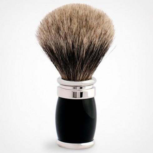 Blaireau PLISSON pur poil gris de Russie, Taille 12, manche fût noir & chromé
