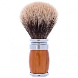 Blaireau PLISSON pur poil gris Européen, Taille 12, manche Olivier & Palladium