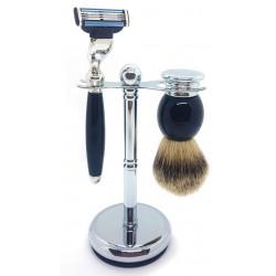 Ensemble de rasage 3 pièces, Blaireau pur poil gris, Rasoir Mach3, manche noir & métal LORDSON