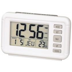 Réveil LCD Parlant blanc nacré, très grand affichage VEDETTE.