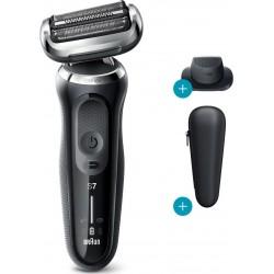 Rasoir rechargeable Braun 70-N1200S Séries 7 W&D Noir, tête flexible 360°, tondeuse précision
