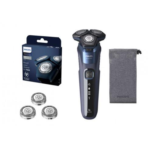 Pack Rasoir rechargeable Séries 5000 Skin IQ W&D Flexible 360° lame SteelPrecision & Tête de rechange SH71/50 PHILIPS