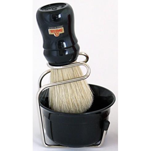 photo de Ensemble de rasage Omega blaireau soie + bol noir sur support