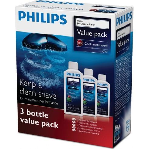 photo de Philips HQ203 Nettoyant rasoir, Solution Jet clean 3 flacons pour bloc nettoyeur de têtes de rasoir électrique Philips