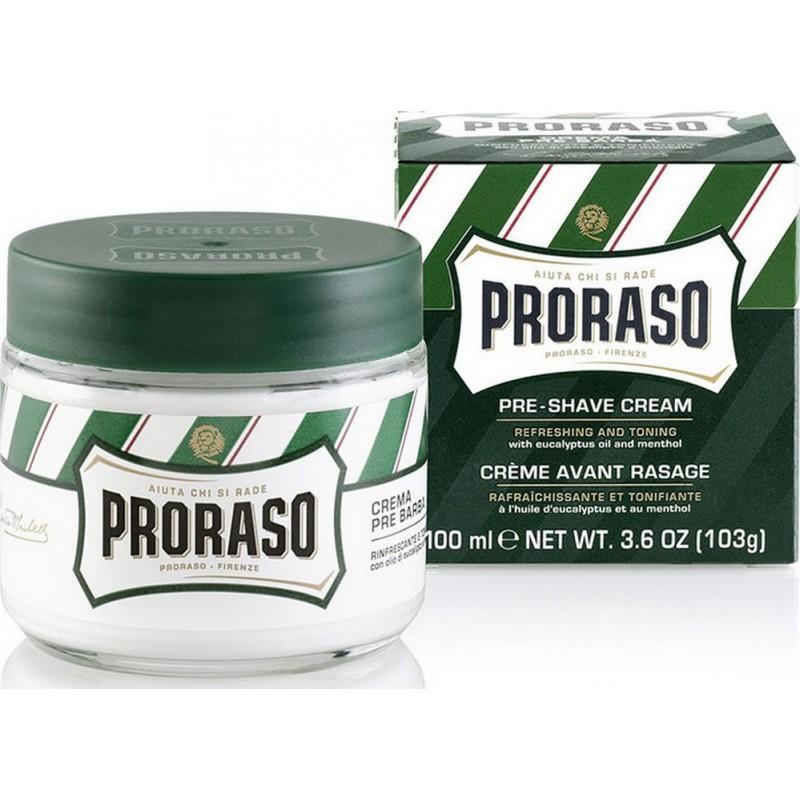 Crème de pré-rasage proraso vert, eucalyptus menthe 100 ml